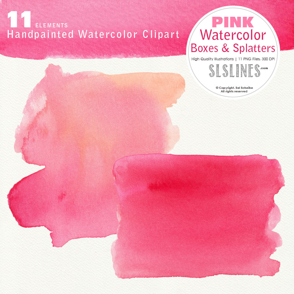 Pink Watercolor Boxes, Rectangles and Splatters - slslines