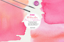 Load image into Gallery viewer, Pink Watercolor Boxes, Rectangles and Splatters  Clipart