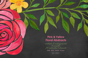 Pink & Yellow Abstract Florals Watercolor Clipart - slslines