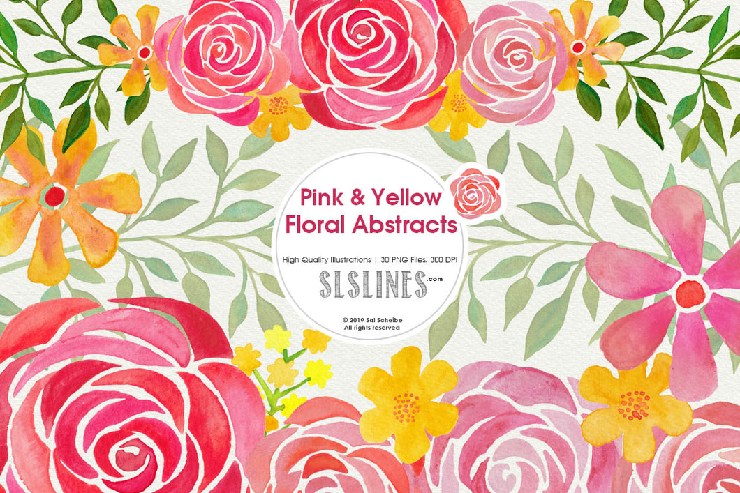 Pink & Yellow Abstract Florals Watercolor Clipart