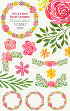 Load image into Gallery viewer, Pink & Yellow Abstract Florals Watercolor Clipart - slslines