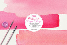 Load image into Gallery viewer, Pink Watercolor Headers and Stripes Clipart Set