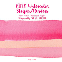 Load image into Gallery viewer, Pink Watercolor Headers and Stripes Set - slslines