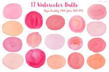 Load image into Gallery viewer, Pink Balls & Ovals Watercolor Shapes - slslines