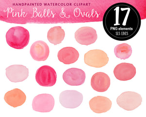 Pink Watercolor Shapes Set: Balls, Boxes & Stripes - slslines