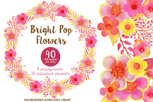 Pop Watercolor Flowers Pink Yellow Orange