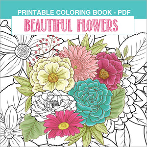Printable Coloring Book: Beautiful Garden Flowers, 15 pages - slslines