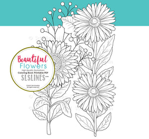 printable coloring book PDF flowers and garden