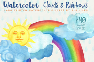 Clouds & Rainbows Watercolor Clipart