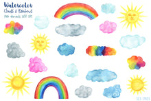 Load image into Gallery viewer, Clouds & Rainbows Watercolor Clipart - slslines