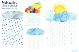 Clouds & Rainbows Watercolor Clipart - slslines