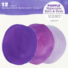 Load image into Gallery viewer, Purple Watercolor Ball & Oval Shape Set - slslines