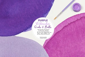 Purple Watercolor Ball & Oval Shape Clipart Set