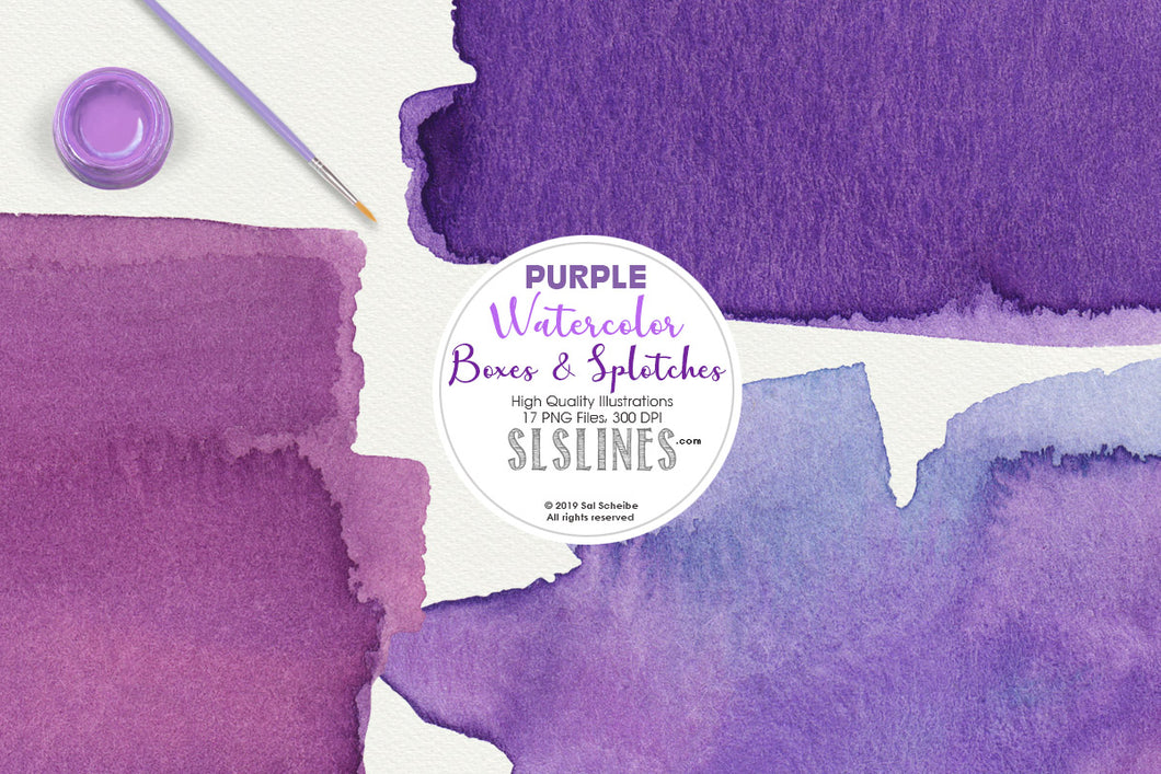 Purple Watercolor Boxes, Splatters and Squares Clipart Set