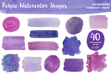 Load image into Gallery viewer, Purple Watercolor Shapes Clipart: Balls, Boxes & Stripes