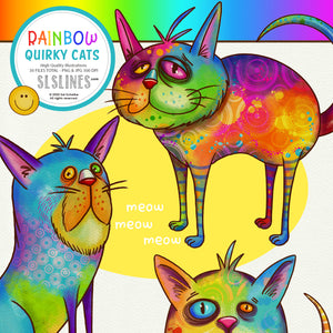 Rainbow Quirky Cat Illustrations PNG Clipart