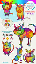 Load image into Gallery viewer, Rainbow Quirky Cat Illustrations PNG Clipart