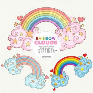 FREE Rainbow & Clouds Clipart