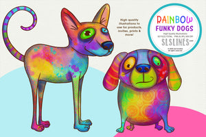 Rainbow Funky Dog Illustrations PNG Clipart
