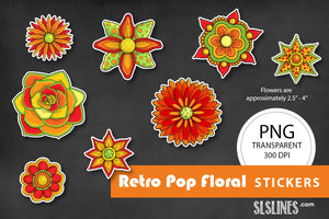 Printable Stickers: Retro Pop Flowers