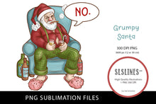 Load image into Gallery viewer, Grumpy Santa Claus Bad Attitude PNG sublimation
