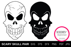 Scary Skull Pair SVG EPS PNG