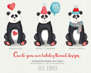 Cute Little Panda Watercolor Clipart - slslines