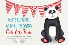 Load image into Gallery viewer, Cute Little Panda Watercolor Clipart