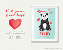 Load image into Gallery viewer, Cute Little Panda Watercolor Clipart - slslines