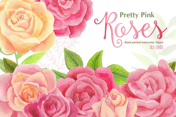 Pretty Pink Roses Watercolor Clipart