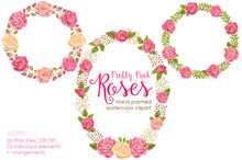 Load image into Gallery viewer, Pretty Pink Roses Watercolor Clipart - slslines