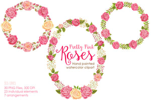 Pretty Pink Roses Watercolor Clipart - slslines