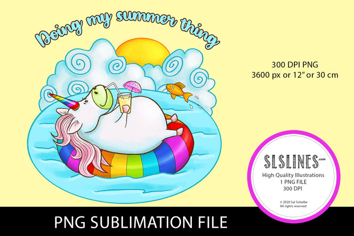 Summer Unicorn Relaxing PNG sublimation