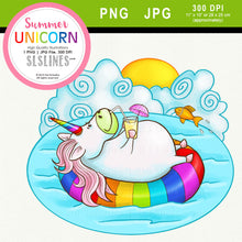 Load image into Gallery viewer, Summer Rainbow Unicorn Clipart