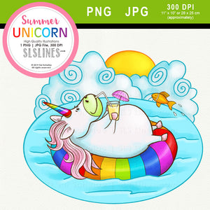 Summer Rainbow Unicorn Clipart