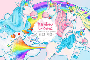 Rainbow Unicorns (with rainbow fart!) Graphic Set - slslines