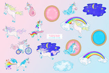 Load image into Gallery viewer, Rainbow Unicorns (with rainbow fart!) Graphic Set - slslines