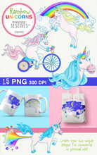 Load image into Gallery viewer, Rainbow Unicorns (with rainbow fart!) Clipart Set