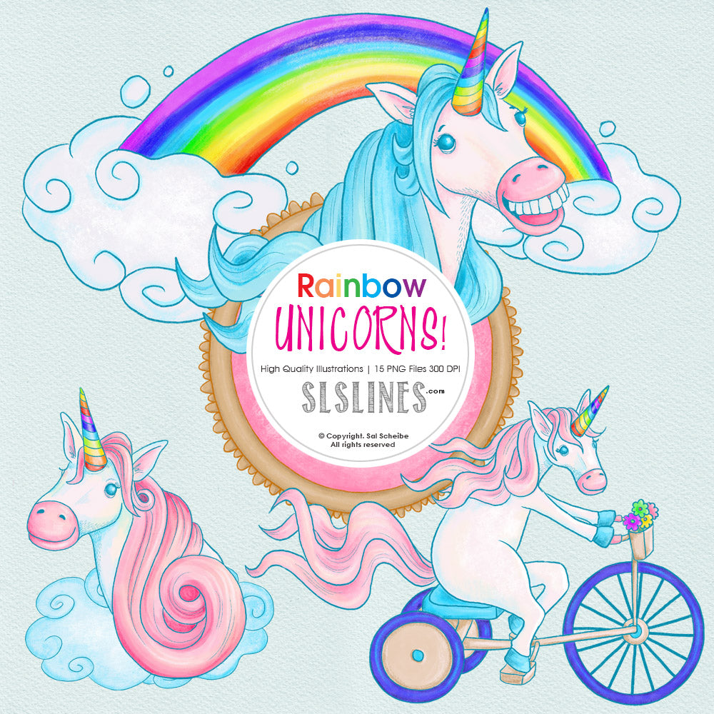 Whimsical Rainbow unicorn graphics set
