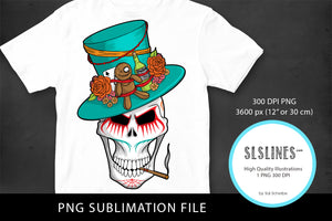 Scary Voodoo Skull PNG sublimation
