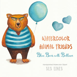 Watercolor Bear in Sweater with Balloon! - slslines