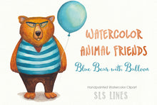 Load image into Gallery viewer, Watercolor Bear in Sweater with Balloon!