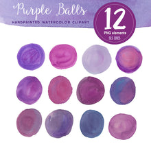 Load image into Gallery viewer, Purple Watercolor Shapes Set: Balls, Boxes & Stripes - slslines