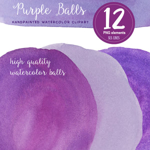 Purple Watercolor Ball & Oval Shape Set - slslines