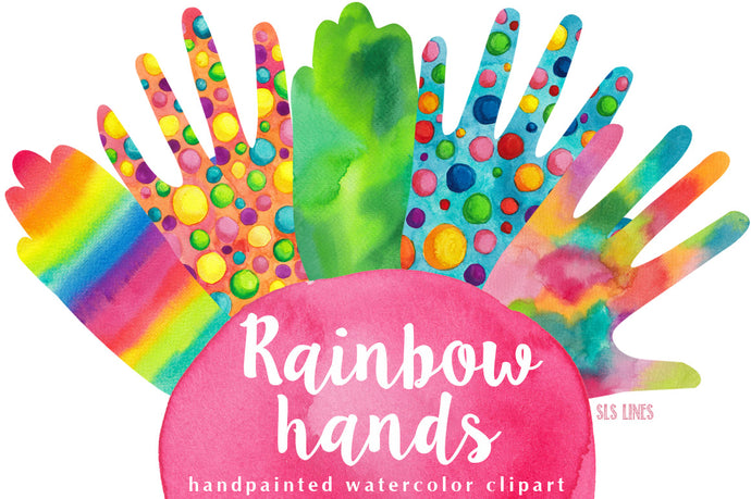 Rainbow Hands Watercolor Shapes Clipart