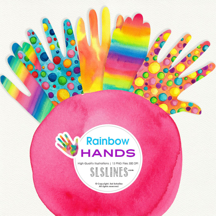 Rainbow Hands Watercolor Shapes - slslines