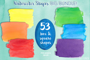Watercolor Shapes Big Bundle Balls Boxes & Splatters - slslines
