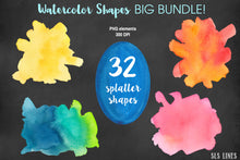 Load image into Gallery viewer, Watercolor Shapes Big Bundle Balls Boxes & Splatters - slslines