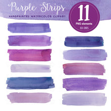 Load image into Gallery viewer, Purple Watercolor Headers and Stripes Set - slslines