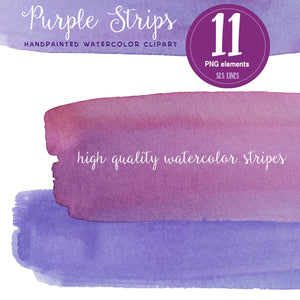Purple Watercolor Headers and Stripes Set - slslines